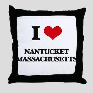 I love Nantucket Massachusetts Throw Pillow