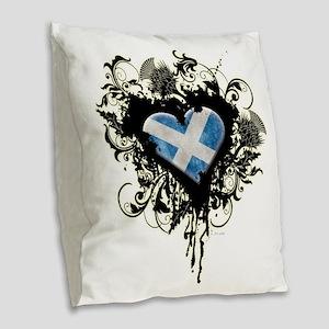 Scottish Heart Burlap Throw Pillow