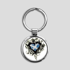 Scottish Heart Round Keychain