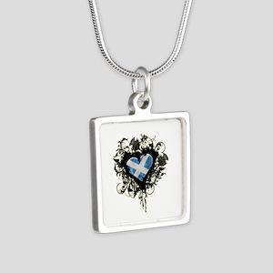 Scottish Heart Silver Square Necklace