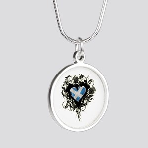 Scottish Heart Silver Round Necklace