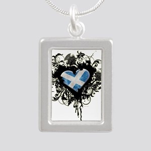 Scottish Heart Silver Portrait Necklace
