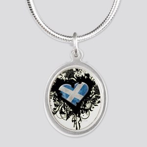 Scottish Heart Silver Oval Necklace