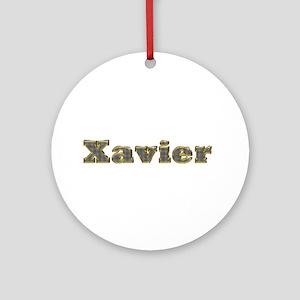 Xavier Gold Diamond Bling Round Ornament