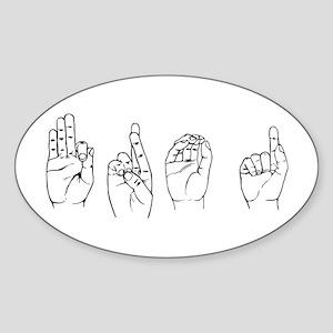 Black ASL FROG Oval Sticker