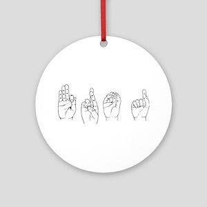 Black ASL FROG Ornament (Round)