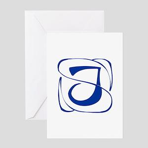 J-Kon blue2 Greeting Cards