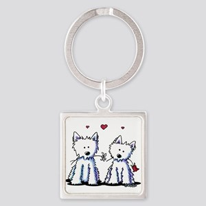 KiniArt Westie Friends Square Keychain