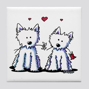 KiniArt Westie Friends Tile Coaster