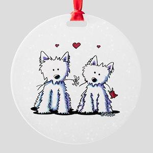 KiniArt Westie Friends Round Ornament