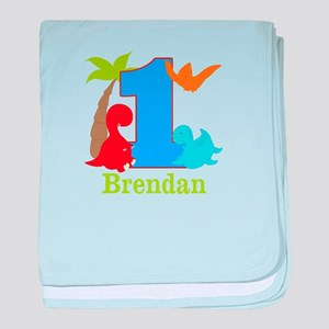 1st Birthday Dinosaur Personalized baby blanket