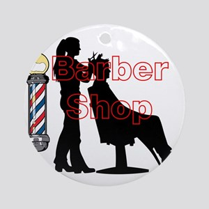 Lady Barber Shop Design Ornament (Round)