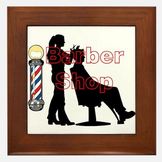 Lady Barber Shop Design Framed Tile