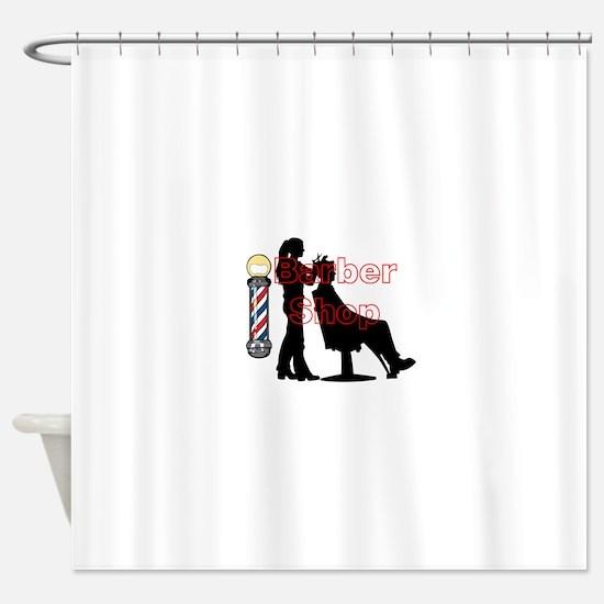 Lady Barber Shop Design Shower Curtain