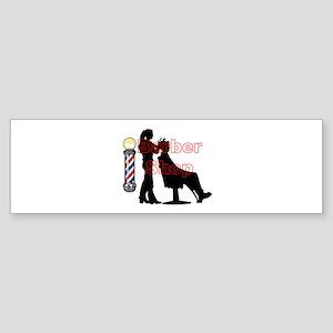Lady Barber Shop Design Bumper Sticker
