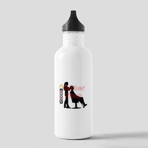 Lady Barber Shop Design Water Bottle
