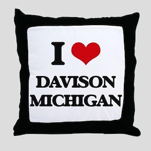 I love Davison Michigan Throw Pillow