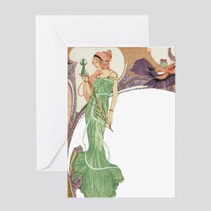 Woman in Green Dress Greeting Card