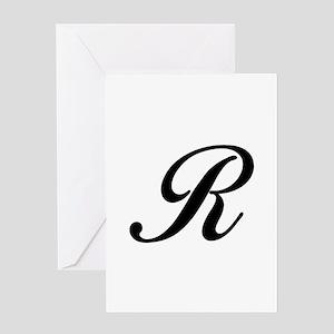 R-Bir black Greeting Cards