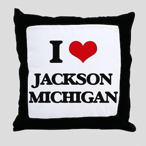 I love Jackson Michigan Throw Pillow
