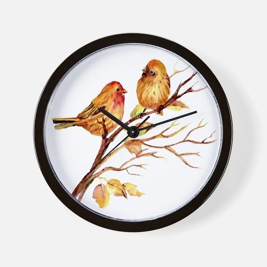 Cute Watercolor Finch Bird Couple on Tree Branch a