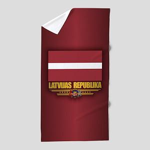 Latvia National Flag Beach Towel