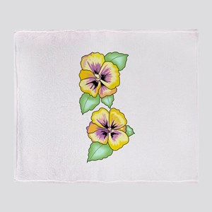 PANSY FLOWER BORDER Throw Blanket