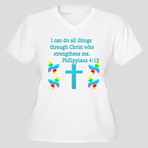 PHILIPPIANS 4:13 Women's Plus Size V-Neck T-Shirt