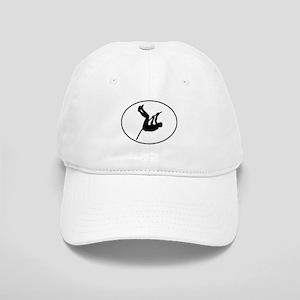 Pole Vaulter Silhouette Oval Baseball Cap