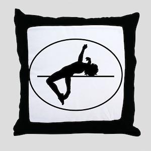 High Jump Silhouette Oval Throw Pillow