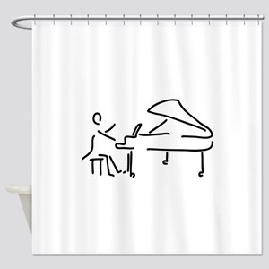 pianist piano player wing Shower Curtain