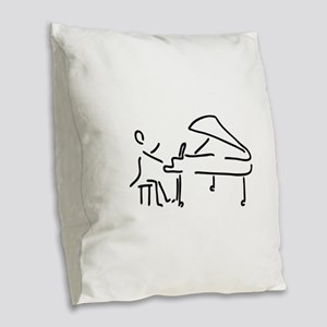 pianist piano player wing Burlap Throw Pillow