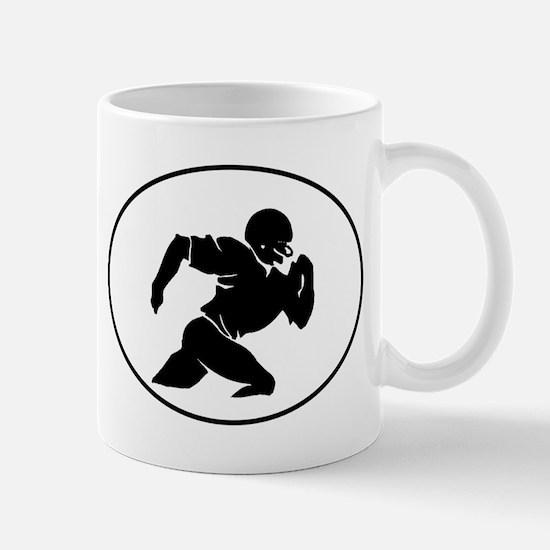 Football Player Silhouette Oval Mugs