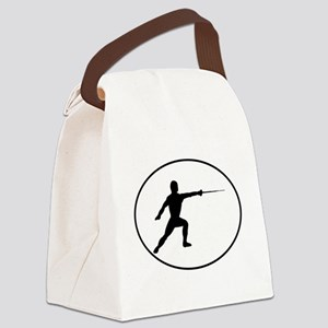 Fencer Silhouette Oval Canvas Lunch Bag