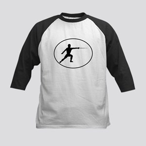 Fencer Silhouette Oval Baseball Jersey