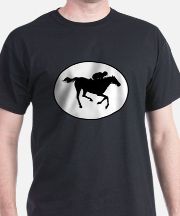 Horse Racing Silhouette Oval T-Shirt