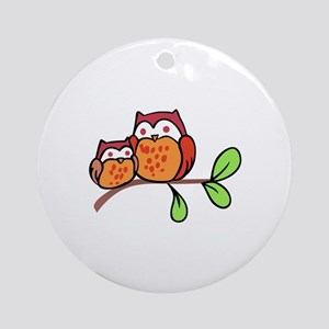 TWO CUTE OWLS Ornament (Round)