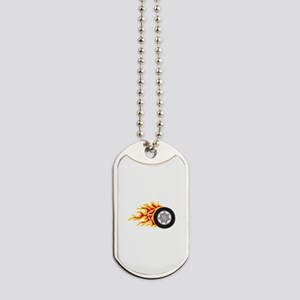 RACING WHEEL WITH FLAMES Dog Tags