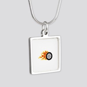RACING WHEEL WITH FLAMES Necklaces