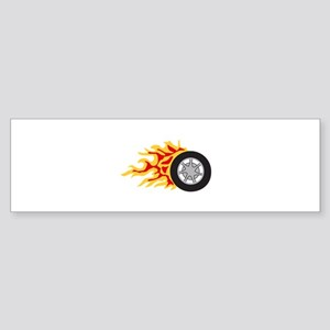 RACING WHEEL WITH FLAMES Bumper Sticker
