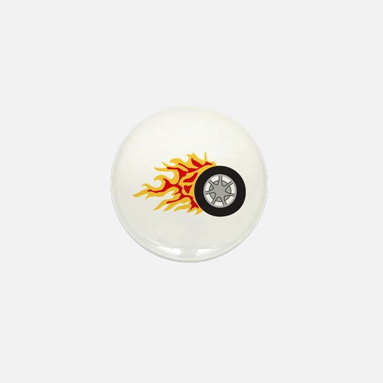 RACING WHEEL WITH FLAMES Mini Button