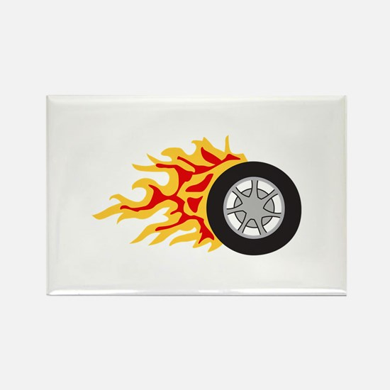 RACING WHEEL WITH FLAMES Magnets