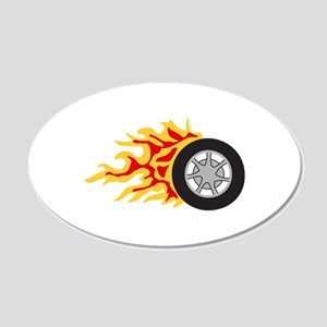 RACING WHEEL WITH FLAMES Wall Decal