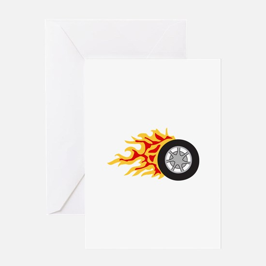 RACING WHEEL WITH FLAMES Greeting Cards