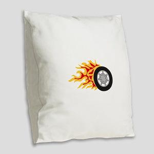 RACING WHEEL WITH FLAMES Burlap Throw Pillow