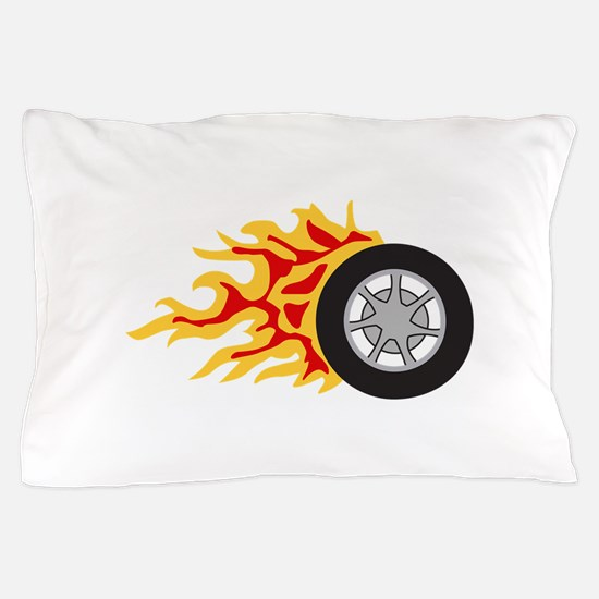 RACING WHEEL WITH FLAMES Pillow Case
