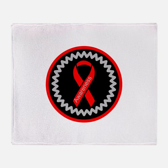 Red Awareness Hope Ribbon Throw Blanket