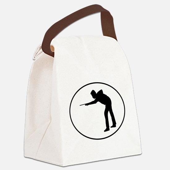 Billiards Player Silhouette Oval Canvas Lunch Bag