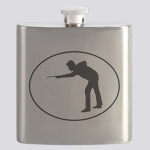 Billiards Player Silhouette Oval Flask