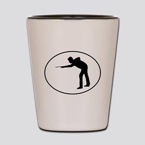 Billiards Player Silhouette Oval Shot Glass